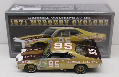 Darrell Waltrip Autographed #95 Terminal Transport 1971 Mercury Cyclone 1:24 University of Racing Nascar Diecast Darrell Waltrip nascar diecast, diecast collectibles, nascar collectibles, nascar apparel, diecast cars, die-cast, racing collectibles, nascar die cast, lionel nascar, lionel diecast, action diecast, university of racing diecast, nhra diecast, nhra die cast, racing collectibles, historical diecast, nascar hat, nascar jacket, nascar shirt,historical racing die cast