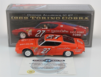 Donnie Allison Autographed #27 East Point Ford 1969 Torino Cobra 1:24 University of Racing Nascar Diecast Donnie Allison nascar diecast, diecast collectibles, nascar collectibles, nascar apparel, diecast cars, die-cast, racing collectibles, nascar die cast, lionel nascar, lionel diecast, action diecast, university of racing diecast, nhra diecast, nhra die cast, racing collectibles, historical diecast, nascar hat, nascar jacket, nascar shirt,historical racing die cast