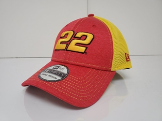 Joey Logano #22 Yellow Mesh w/Red Front Panels and Bill New Era Hat Fitted - Different Sizes Available Joey Logano, apparel, hat, 22, Penske