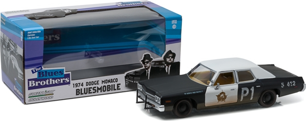 "*Preorder* Blues Brothers (1980) 1:24 - 1974 Dodge Monaco ""Bluesmobile"" Blue Brothers, Movie Diecast, 1:24 Scale, 1974 Dodge Monaco Bluesmobile"