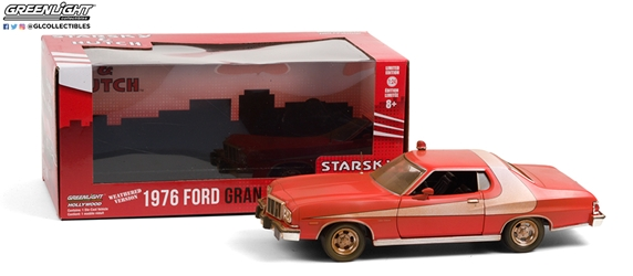 *Preorder* Starsky and Hutch (1975-79 TV Series) 1:24 - 1976 Ford Gran Torino (Weathered Version) Starsky and Hutch, TV Diecast, 1:24 Scale, 1976 Ford Gran Torino (Weathered Version)