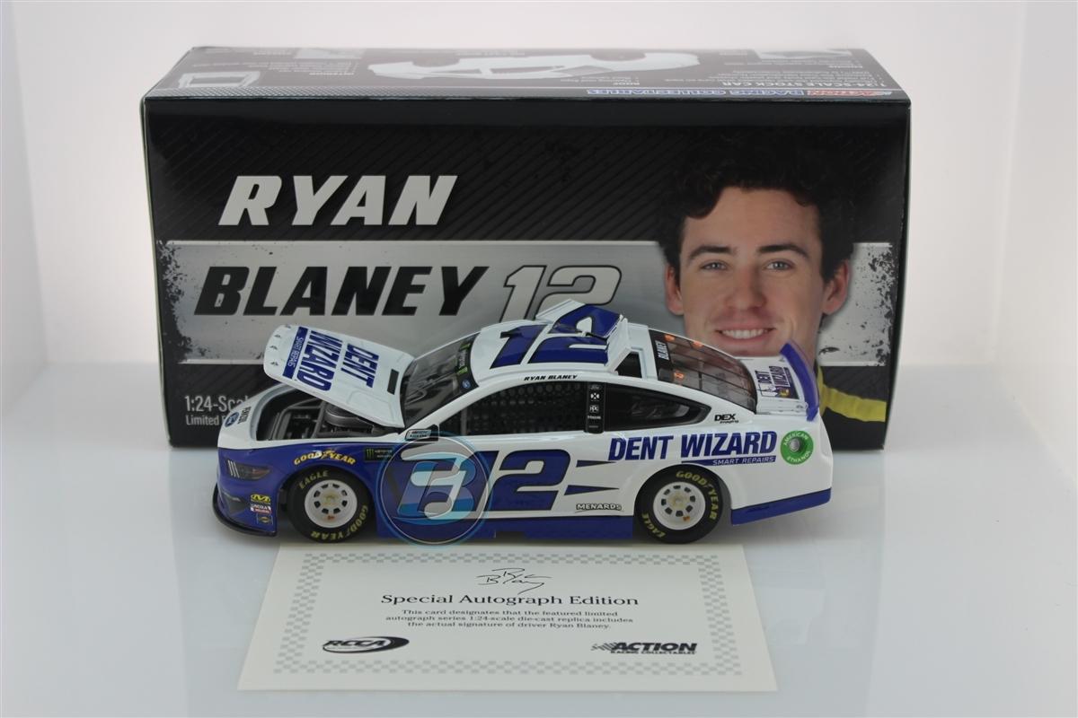 Nascar Diecast 1:24 Ryan Blaney 1//50 Autographed Dent Wizard Stock Car Elite New